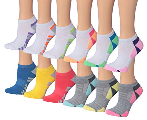 - Tipi Toe Women's 12-Pairs Low Cut/No Show Athletic Sport Socks (SP34-12)