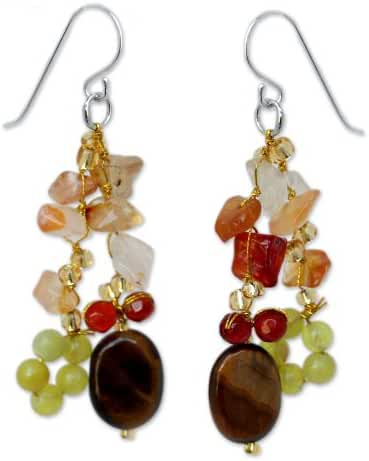 NOVICA .925 Sterling Silver Tiger's Eye, Quartz and Carnelian Stone Cluster Earrings, 'Thai Autumn'
