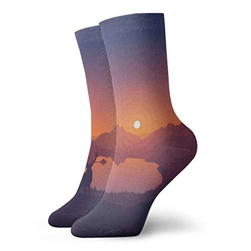 Unisex High Ankle Cushion Crew Socks Landscape Mountains Casual Sport - Mountain Light Laurel