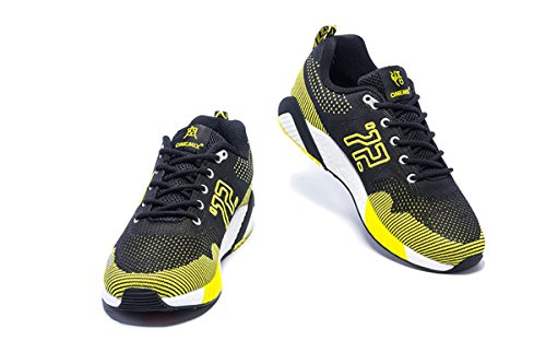 Onemix Mens Breathable Mesh Outdoor Sport Running Shoes Black Yellow cIircg