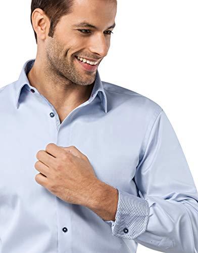 Infroissable Boretti Homme Agréable 2 Unie Tissu longues Manches Coupe Regular Glacé Coton Col bleu Normale Kent Vincenzo fit À 100 Porter Et Chemise SwCqvpp