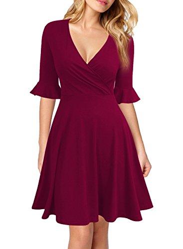 WOOSEA Women's Deep V Neck Flounce Bell Sleeve Casual Party Mini Dress