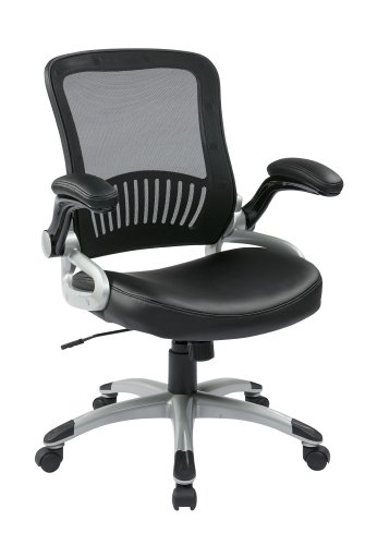 Office Star Breathable Screen Back and Bonded Leather Seat Managers Chair with Flip Arms and Silver Coated Accents, Black ()