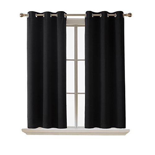 Deconovo Room Darkening Thermal Insulated Blackout Grommet Window Curtain for Living Room, Black,42x63-inch,1 - Fabric Blend Linen Drapery