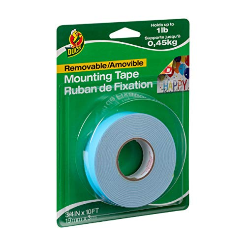 Duck Brand Removable Foam Mounting Tape, 3\4in x 10ft, Single Roll, White (1098147) (Duck Brand Double Sided Foam Mounting Tape)