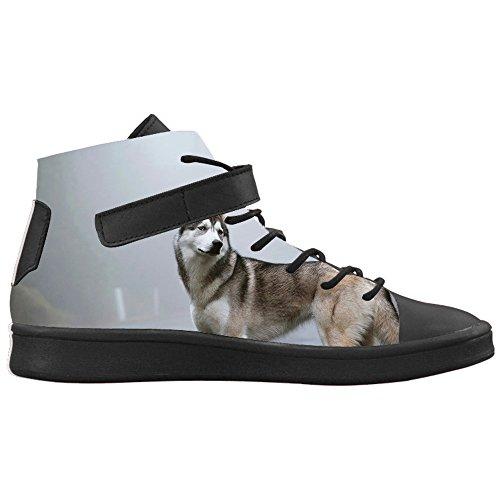 Nero CHEESE Donna Traspirante Scarpe Personalizzato Sneakers Alte Lyra E Animali Selvatici Design Alla Toe Round Caviglia Colletto con Husky r5XrAqw