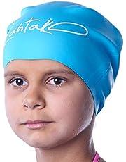 Czepek pływacki dla dzieci, długie włosy, czepek pływacki dla dziewcząt, chłopców, dzieci, nastolatków, z długimi, kręconymi włosami, warkoczami, dredami, 100% silikonu, hipoalergiczny, wodoszczelny czepek kąpielowy