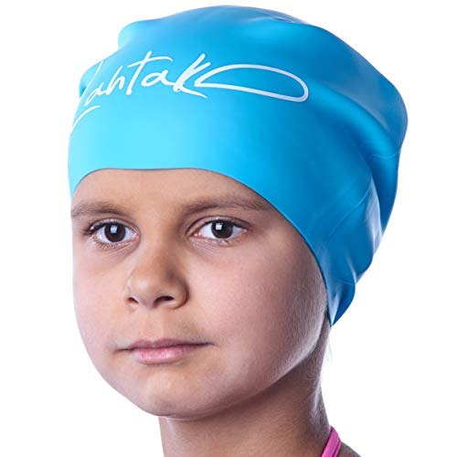 Swim Caps for Long Hair Kids - Swimming Cap for Girls Boys Kids Teens with Long Curly Hair Braids Dreadlocks - 100% Silicone Hypoallergenic Waterproof Swim Hat (Aqua Blue, Medium) (Best Waterproof Swim Cap For Long Hair)