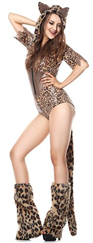 Ladies Sexy Furry Leopard Playsuit Animal Cat Halloween Carnival Fancy Dress Costume Outfit UK 8-14 (UK 12-14) -
