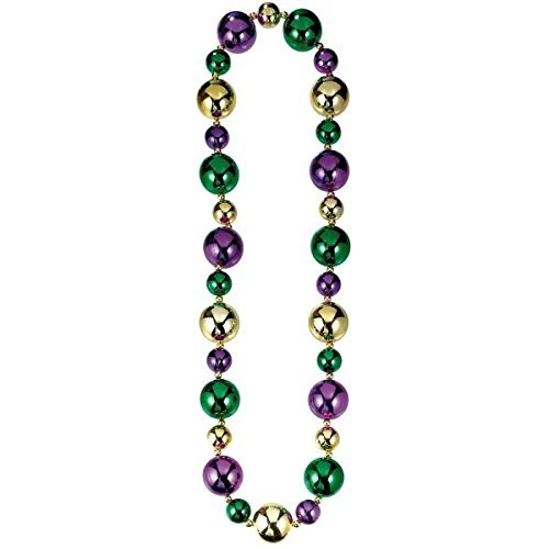 Big Bead (Amscan Big Mardi Gras Beads Necklace Costume Party Accessory (2 Pack), Multi Color, 24 x 6)