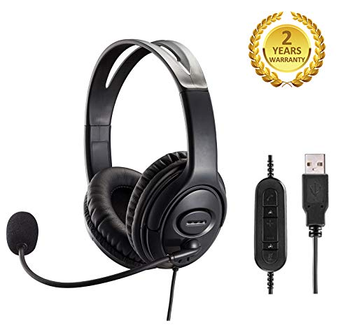 PC Chat Headphone USB Headset with Noise Cancelling Microphone and Volume Control for PC Chat Skype Microsoft Lync Dragon Nuance Voice Recognition Speech Dictation