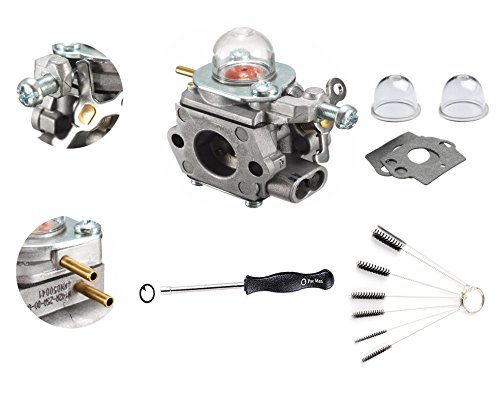 Podoy TB32EC Carburetor for Troy-Bilt TB80EC TB22EC TB32EC YM21CS TB21EC TB2040XP 753-06190 with Primer Bulb Adjustment Tool Kit String Trimmer WT-973 Carb by Podoy