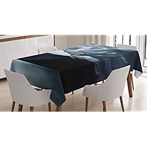 Ambesonne Americana Landscape Decor Tablecloth by, Moon Over Lake and Hills with Dark Storm Clouds Twilight Dawn at Night, Dining Room Kitchen Rectangular Table Cover, Grey 41DTvFzClDL