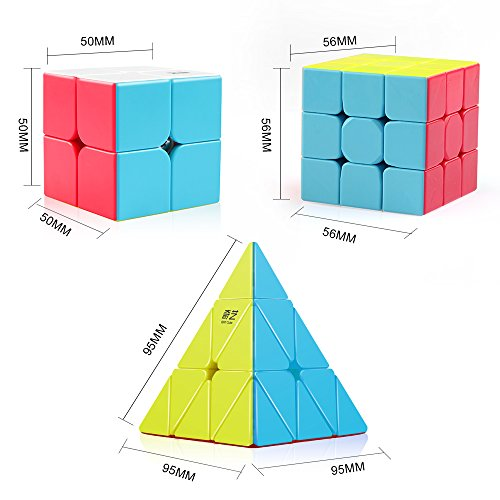 D-FantiX Qiyi Stickerless Speed Cube Bundle, Qidi S 2x2 Warrior W 3x3 Qiming Pyraminx Magic Cube Puzzle Toys for Kids