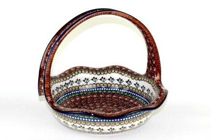 Polish Pottery Golden Pastures Round Basket by Ceramika Artystyczna