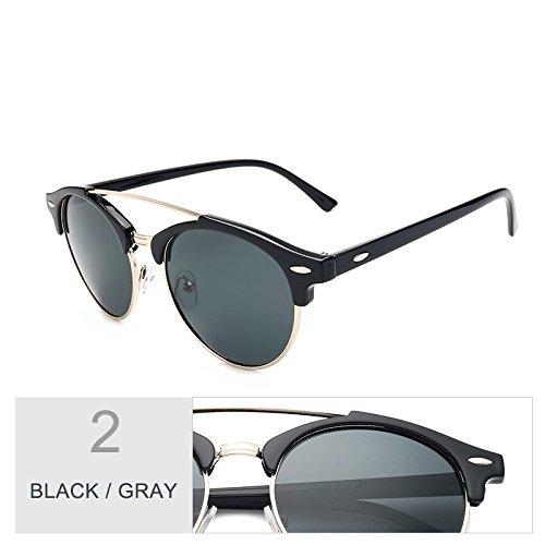 Lunettes Sunglasses rondes femmes châssis les Gray châssis Black de Hommes hommes Semi soleil lunettes TL de Senza Guide pour polarisées lunettes wq5IdAF