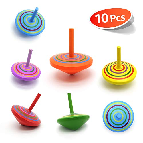 10 Pcs/set Handmade Painted Wood Spinning Tops, Kids Novelty Wooden Colorful Gyroscopes Toy, Assorted Standard Tops, Flip Tops, kindergarten education Toys - Great Party Favors, Fun, Gift, Prize
