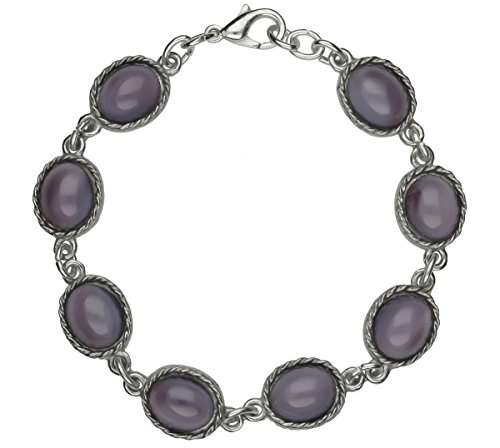 Handmade Celtic Design Large Oval Amethyst Moonstones Pewter Bracelet