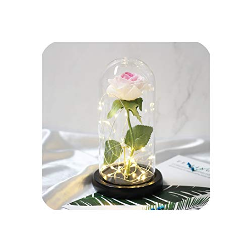 Artificial Flower Home Decor Beauty with Wild Rose Dome and LED Light Wood Base Romantic Valentine's Day Birthday Gift,009