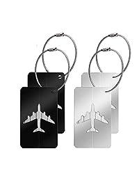 Canotagio Set de 4 Identificadores de Maletas de Viaje. Identificadores de equipaje de Aluminio para Valijas, Mochila o Bolsa con Gancho de Acero y Tarjeta para Datos Personales. Luggage Tag. (4pzas)