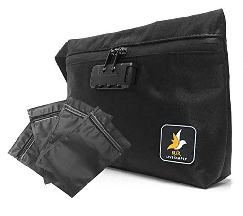 Carbon Storage Bag - KUR Smell Proof Bag with 4 Mylar bags - Waterproof Case for Herb, Cigarette, Pipe, Vape and Smelly Accessories - Odorless Storage Container with Activated Carbon, Lock and Zipper - (Black 11X7.5X2.5)