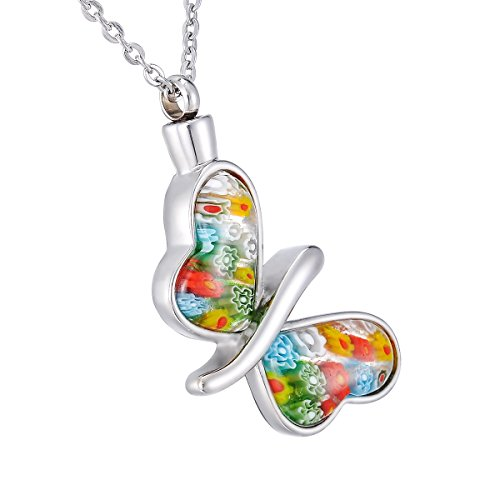 (Colorful Murano Irregular Heart&Butterfly Cremation Ashes Urn Necklace Glass Flower Memorial Pendant Stainless Steel Waterproof Jewelry (Butterfly))