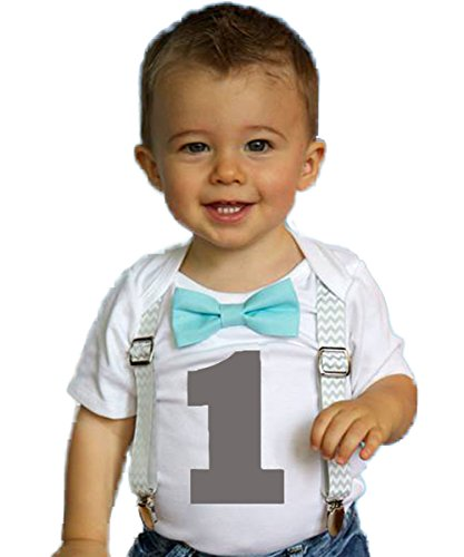 Noah's Boytique Boys Cake Smash Outfit First Birthday Grey Chevron Aqua Bow Grey Number One 18-24 Months ()