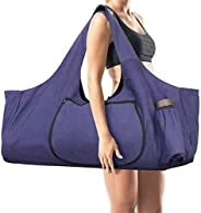 Large Yoga Mat Bag Tote Sling Carrier Multi-Purpose Gym Bag with Side Pockets and Zippers