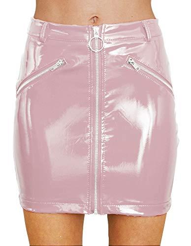 (Yimeili Women's Shiny Liquid Metallic Wet Look Flared Bodycon Pencil Skirts Sexy Short PU Skirts (Pink, XS))