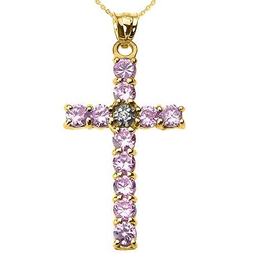 Collier Femme Pendentif 14 Ct Or Jaune Diamant et Rose Oxyde De Zirconium Croix (Livré avec une 45cm Chaîne)