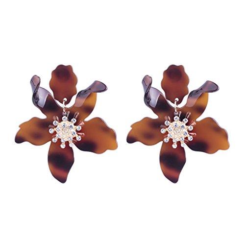 GuanLong Resin Acrylic Flower Earrings, Spring Fashion Big Earrings Jewelry ()