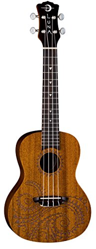 Luna Tattoo Concert Mahogany Ukulele with Gig Bag, Satin Natural