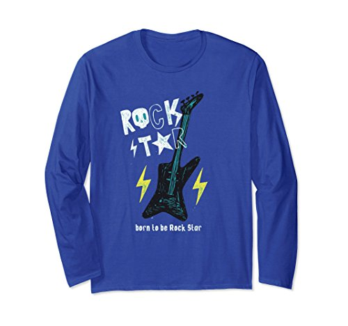 70s Rock And Roll Costumes (Unisex Rock & Roll With Guitar T Shirt 2XL Royal Blue)