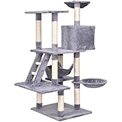 Best Quality 57 Inch 5 ft Hand Made Condo Cat Tree Stand Scratch Post Furniture for Cats (Grey)