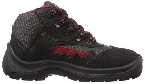 MTS Melbourne S2 7153 Unisex-Erwachsene Sicherheitsschuhe Schwarz (Schwarz/Rot)