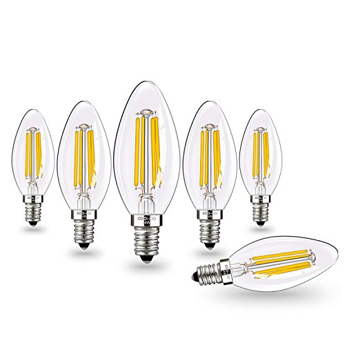 (Vintage Candelabra LED Light Bulbs with E12 Base 40W Equivalent Halogen Replacement Warm White 4W Filament Candle Light Bulbs with 420 Lumen 6 Packs by COOWOO)
