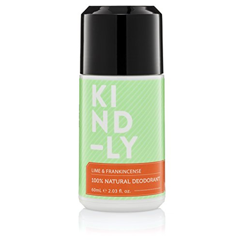 KIND-LY 100% Natural Deodorant Roll-On (Lime & Frankincense) with Probiotics & Magnesium. Aluminium Free, Paraben Free; Organic, Vegan, Strong All Day Protection, Australian Made (60ml/2.03 fl.oz) (Best Kind Of Deodorant)