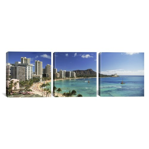 iCanvasART Buildings Along The Coastline Diamond Head Hawaii by Panoramic Images 3-Piece Canvas Art Print, 36 by 12-Inch by iCanvasART