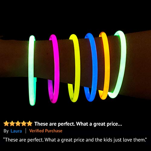 Glow Sticks Bulk Party Favors 400pk - 8'' Glow in the Dark Party Supplies, Light Sticks Neon Party Glow Necklaces and Bracelets for Kids or Adults by PartySticks (Image #2)