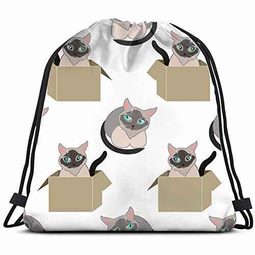 siamese catss cat box animals wildlife Gym Sack Bag Drawstring Sport Beach Travel Outdoor Backpack for Women 17X14 Inch