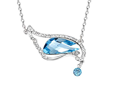 NEVI Wings Fairy Fashion Swarovski Crystals Rhodium Plated Princess Pendant Necklace Jewellery for W
