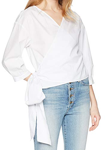 (kensie Women's Oxford Shirting Top, White, S )