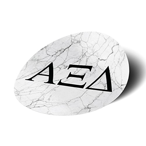 (Alpha Xi Delta Sorority Black and White Marble with Letters Sticker Decal 3 Inch Greek for Window Laptop Computer Car alpha zee)