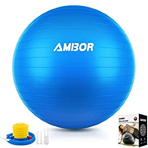 Well-Being-Matters 41DTzmR2TEL._SS300_ AMBOR Exercise Ball (65-75CM), Extra Thick Anti-Burst & Non-Slip Stability Balance Yoga Ball for Birthing, Pilates, Desk…