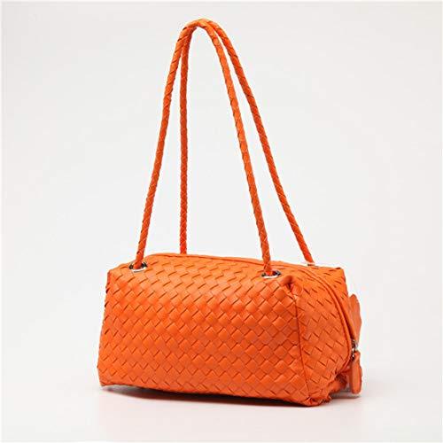 Las Versátil La De Cremallera Kervinzhang color Suave Simple Black Sólido Hombro Bolso Orange Del Mujeres Cáscara wzwPE