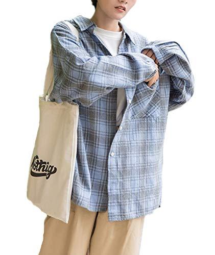 IWFREE レディースシャツ 綿麻 カーディガン 長袖 ロングシャツ チェック柄 ブラウス カットソー 体型カバー トップス 着痩せ ゆったり ボタン付き 秋 レジャー ホーム服 大きいサイズ 春夏 Tシャツ コート シンプル 快適 ブラック 通勤