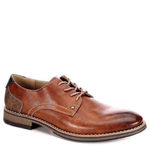 Varese Mens Nick Lace Up Plain Toe Oxford Shoes, Cognac, US 13