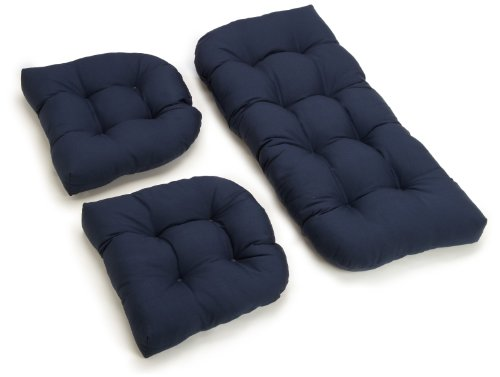 Cushion Only Set - Blazing Needles Twill Settee Group Cushions, Navy, Set of 3