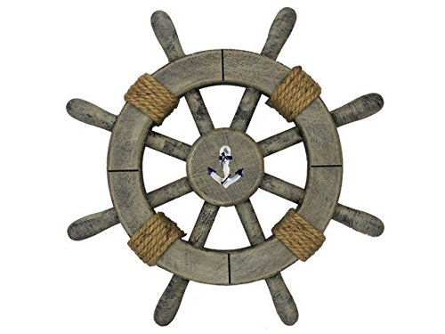 Handcrafted Decor Super-Rustic-White-SW-12-Anchor Rustic Decorative Ship Wheel with Anchor, 12 in.