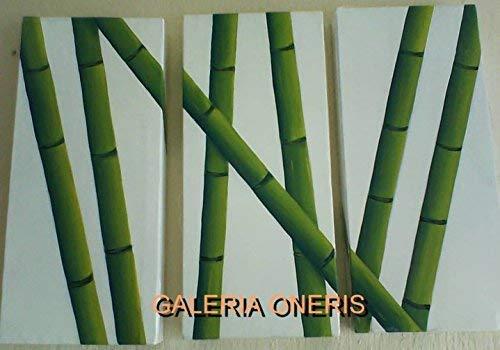 Cuadros decorativos modernos 3 piezas - Pintura'Cañas triptico' decoración del hogar, obra de arte, art wall, arte, decor...